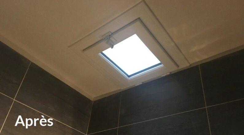 Pose fenêtre plafond salle de bain avant et après la pose . Adresse avenue Foch Paris 8 eme 2